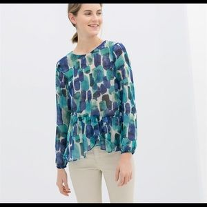 Zara watercolor blouse